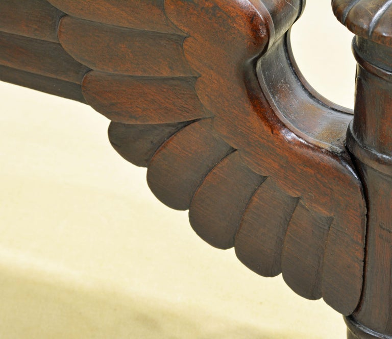 French Second Empire Eagle Wing Carved and Bronze Mounted Mahogany Armchair For Sale 7