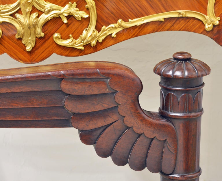 French Second Empire Eagle Wing Carved and Bronze Mounted Mahogany Armchair For Sale 9
