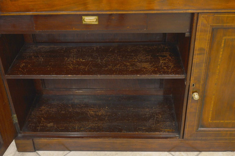 Fine English William IV Mahogany Library Bookcase with Double Arch Glazed Doors In Good Condition For Sale In Ft. Lauderdale, FL