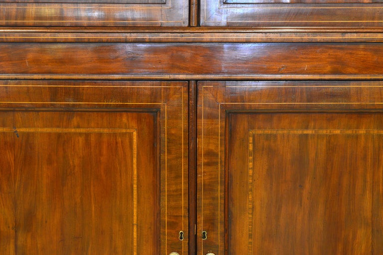 19th Century Fine English William IV Mahogany Library Bookcase with Double Arch Glazed Doors For Sale
