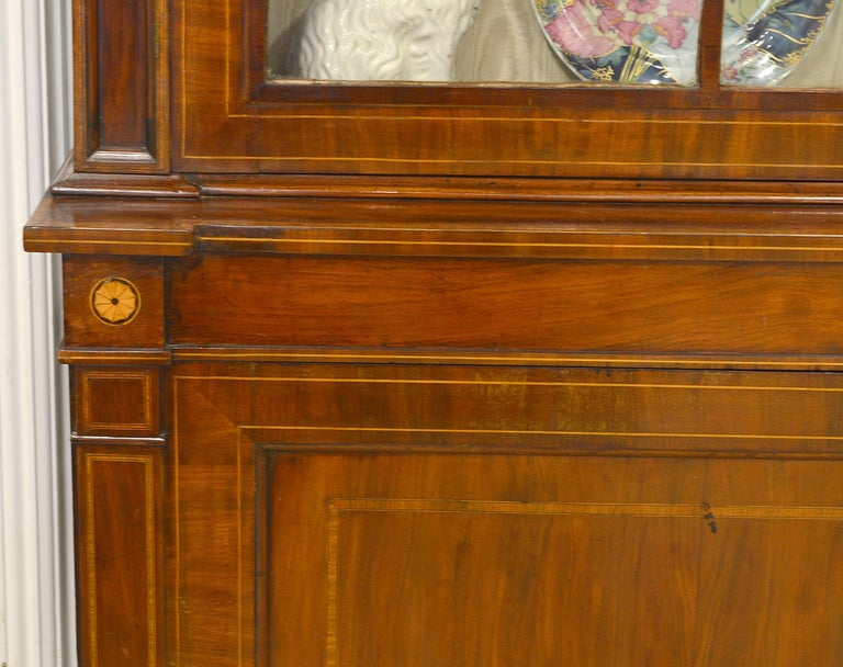 Fine English William IV Mahogany Library Bookcase with Double Arch Glazed Doors For Sale 1