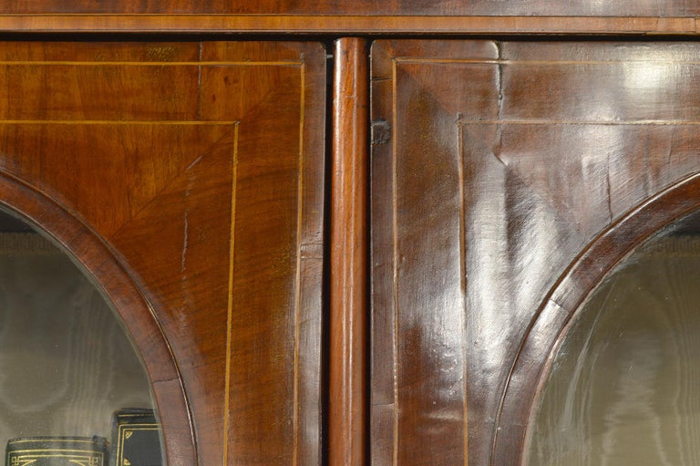 Fine English William IV Mahogany Library Bookcase with Double Arch Glazed Doors For Sale 2