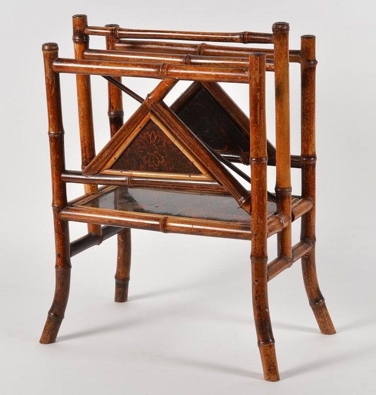 Good 19th Century English Bamboo and Japanned Lacquer Canterbury In Good Condition For Sale In Ft. Lauderdale, FL