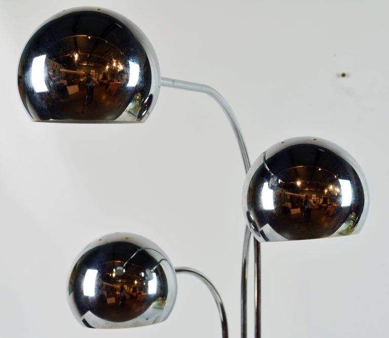 Robert Sonneman Style Vintage Midcentury Style Triple Eyeball Chrome Table Lamp For Sale 4
