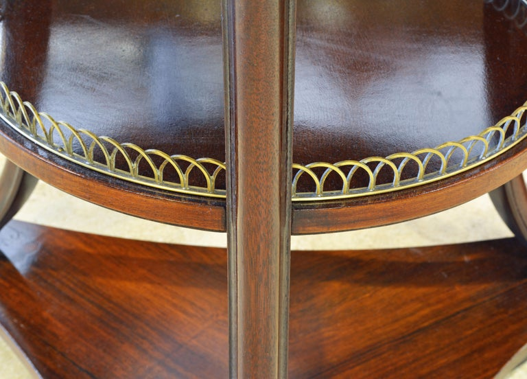 Bronze Elegant Pair of French Directoire Style Mahogany and Rosewood Gueridon Tables For Sale