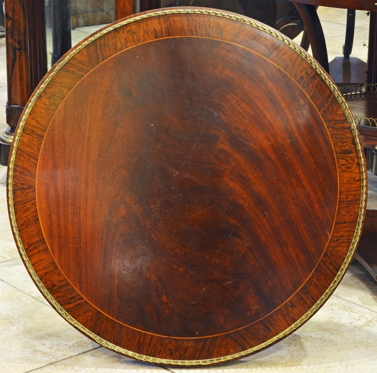 Elegant Pair of French Directoire Style Mahogany and Rosewood Gueridon Tables For Sale 4