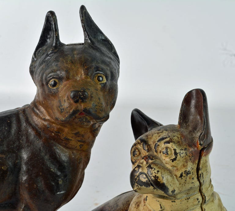 Two Charming Early 20th Century Painted Cast Iron Door Stop Dogs For Sale 6