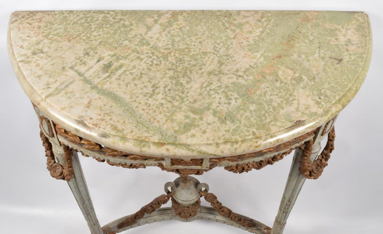 Wood Italian 18th Century Neoclassical Marble Top Paint and Parcel Gilt Console Table For Sale
