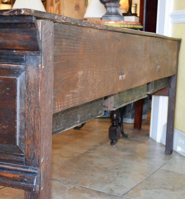 Carved 17th-18th Century English Jacobean Style Three-Drawer Oak Wood Dresser or Buffet For Sale