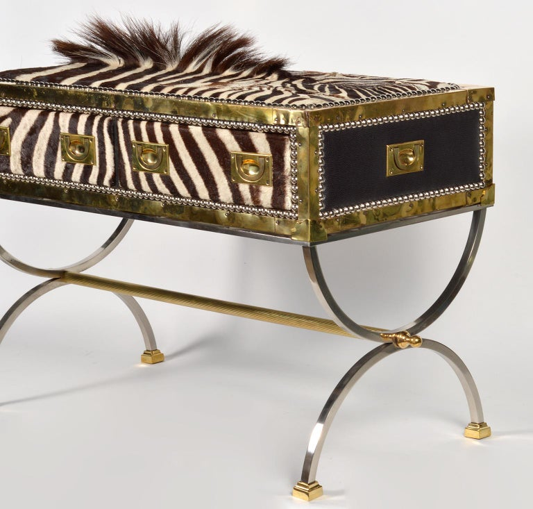 Brass Unique Midcentury French Two-Drawer Zebra Skin Commode on Curule Style Stand For Sale