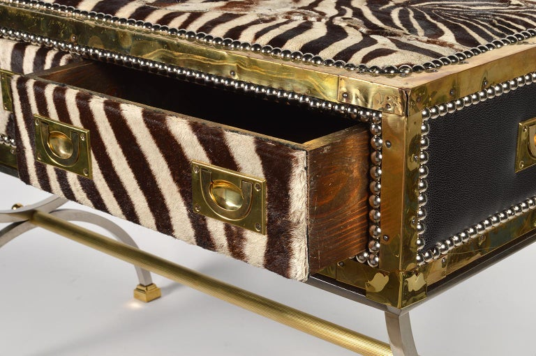 Unique Midcentury French Two-Drawer Zebra Skin Commode on Curule Style Stand For Sale 1