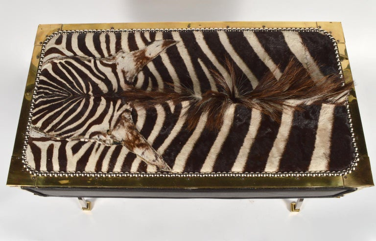 Unique Midcentury French Two-Drawer Zebra Skin Commode on Curule Style Stand For Sale 5