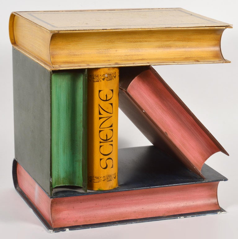 Hollywood Regency Mid-20th Century Italian Painted Tole Faux Stacked and Leaning Books Side Table For Sale