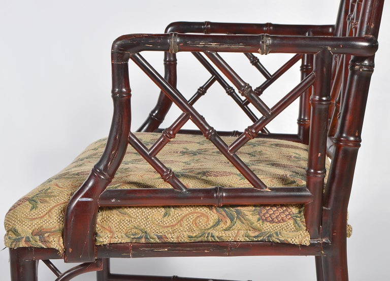 Pair of Chinese Chippendale Style Faux Bamboo Armchairs with Pineapple Fabric For Sale 1
