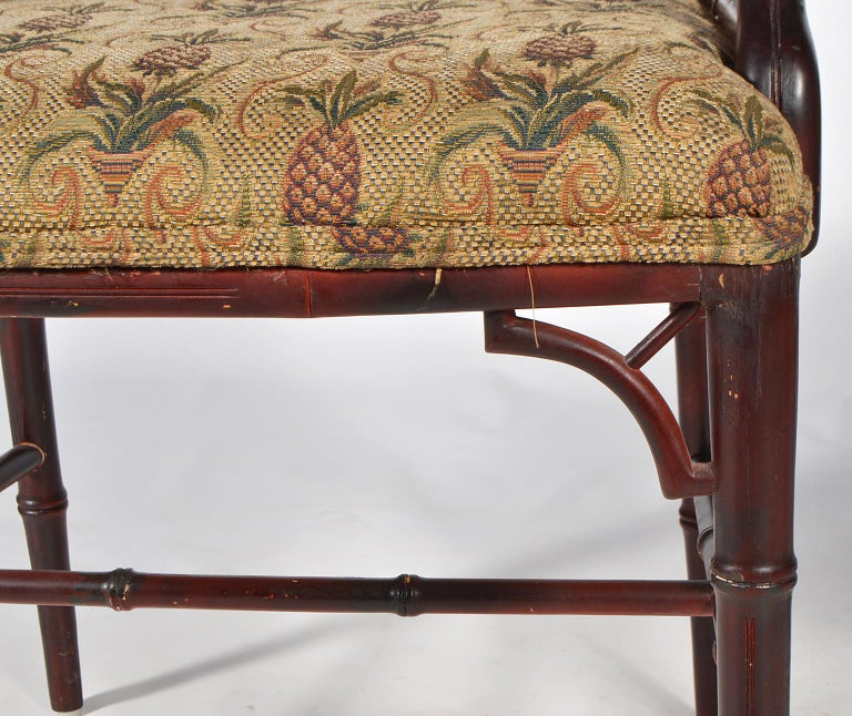 Pair of Chinese Chippendale Style Faux Bamboo Armchairs with Pineapple Fabric For Sale 3