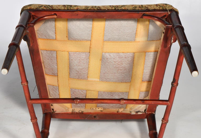 Pair of Chinese Chippendale Style Faux Bamboo Armchairs with Pineapple Fabric For Sale 4