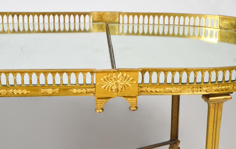 19th Century French Empire Gilt Bronze Three Part Mirrored Plateau Sofa Table In Good Condition For Sale In Ft. Lauderdale, FL
