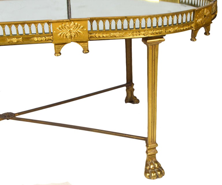 19th Century French Empire Gilt Bronze Three Part Mirrored Plateau Sofa Table For Sale 1