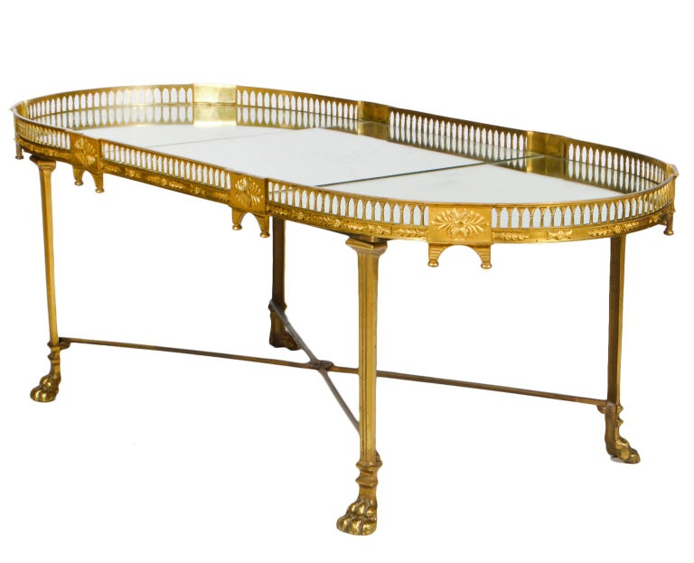 19th Century French Empire Gilt Bronze Three Part Mirrored Plateau Sofa Table For Sale 2