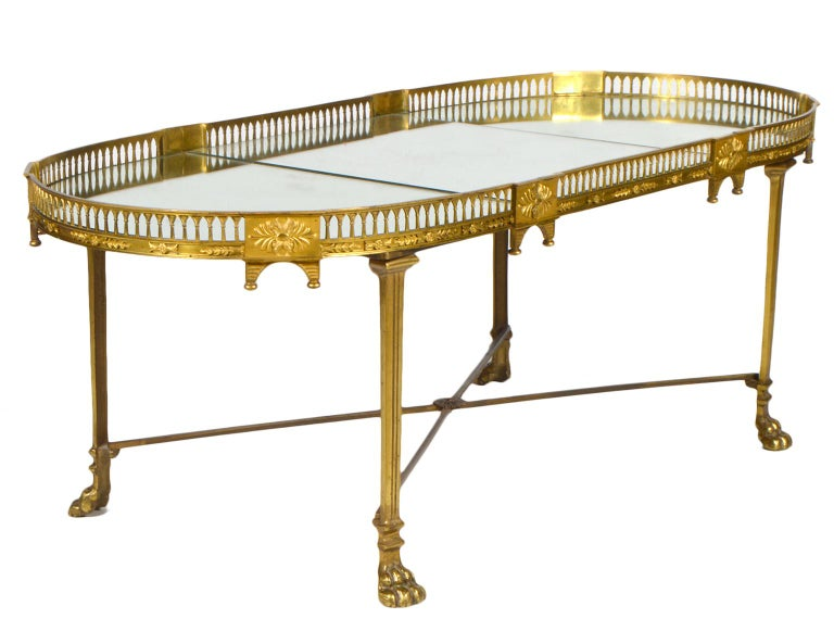19th Century French Empire Gilt Bronze Three Part Mirrored Plateau Sofa Table For Sale 3