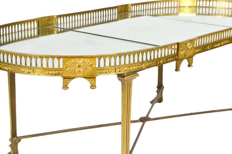 19th Century French Empire Gilt Bronze Three Part Mirrored Plateau Sofa Table For Sale 4