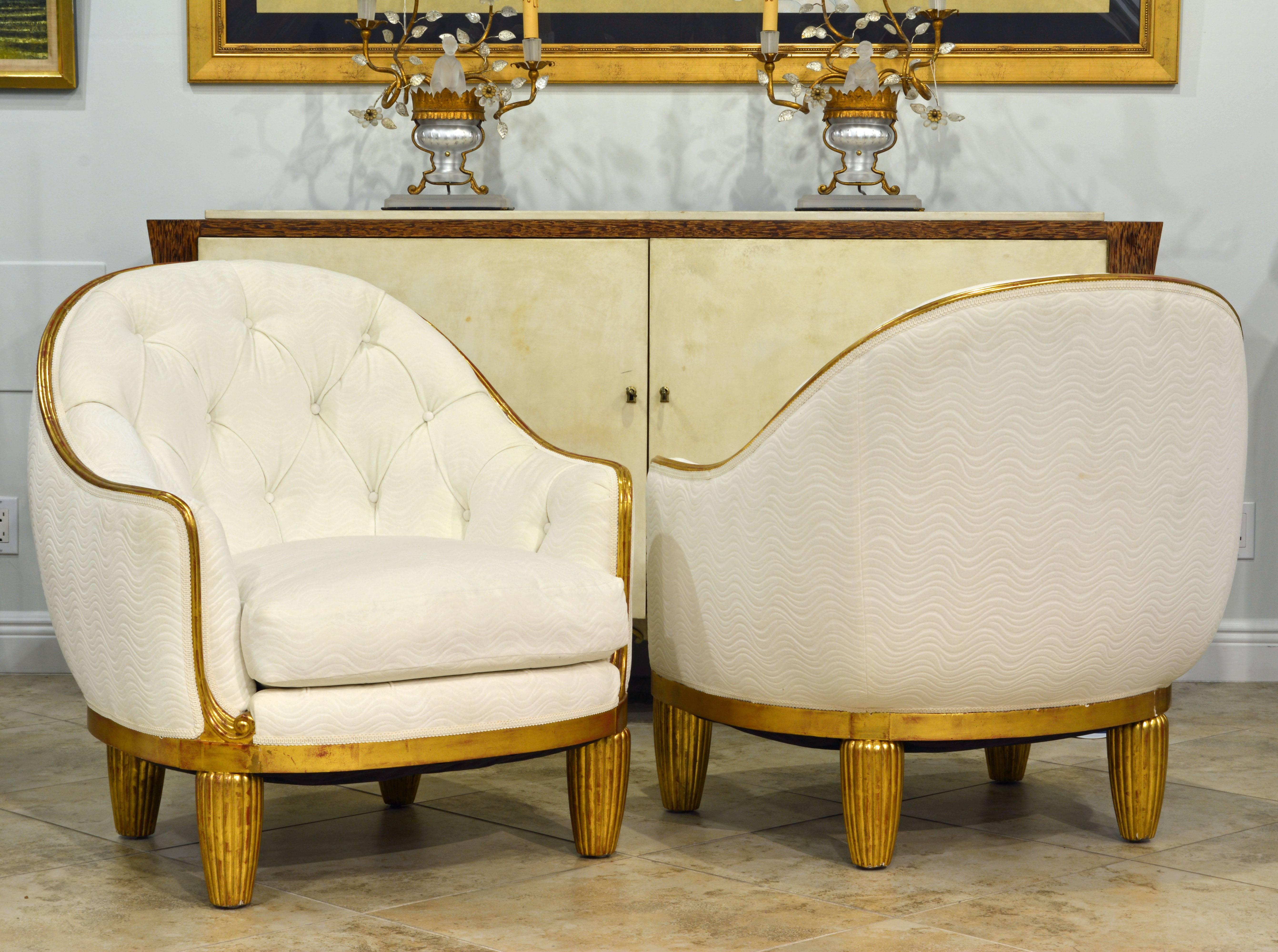 Exceptional pair of french art deco lounge chairs manner of