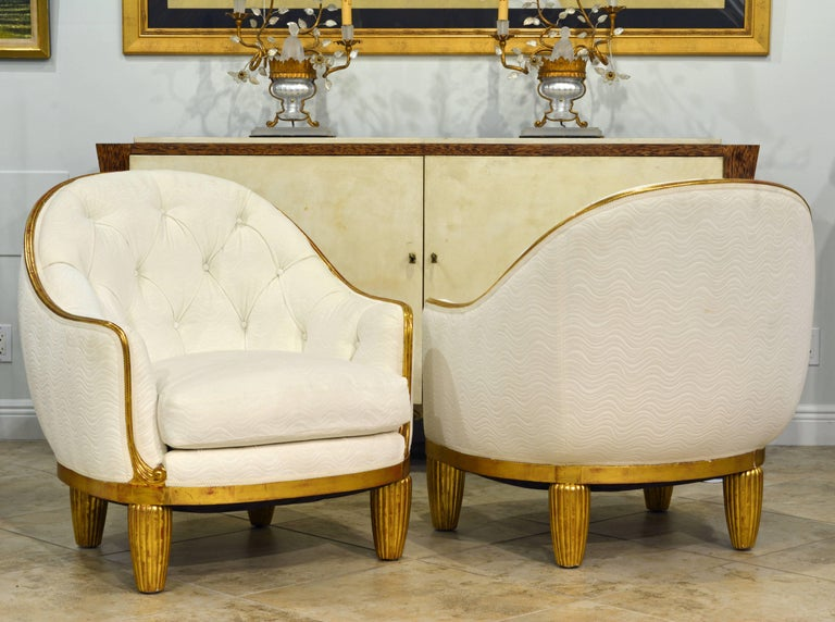 Gilt Exceptional Pair of French Art Deco Lounge Chairs Manner of Maurice Dufrene For Sale