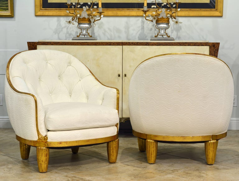 Exceptional Pair of French Art Deco Lounge Chairs Manner of Maurice Dufrene In Good Condition For Sale In Ft. Lauderdale, FL
