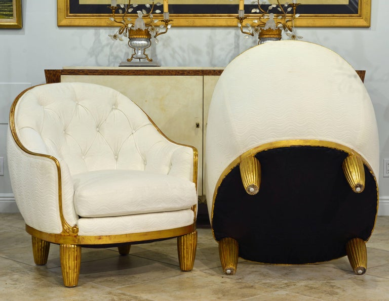 19th Century Exceptional Pair of French Art Deco Lounge Chairs Manner of Maurice Dufrene For Sale
