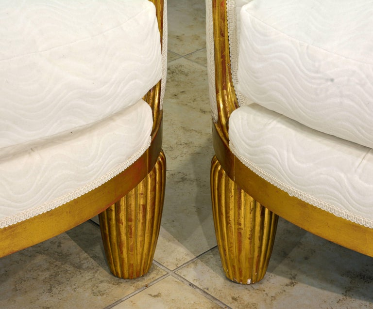 Exceptional Pair of French Art Deco Lounge Chairs Manner of Maurice Dufrene For Sale 2