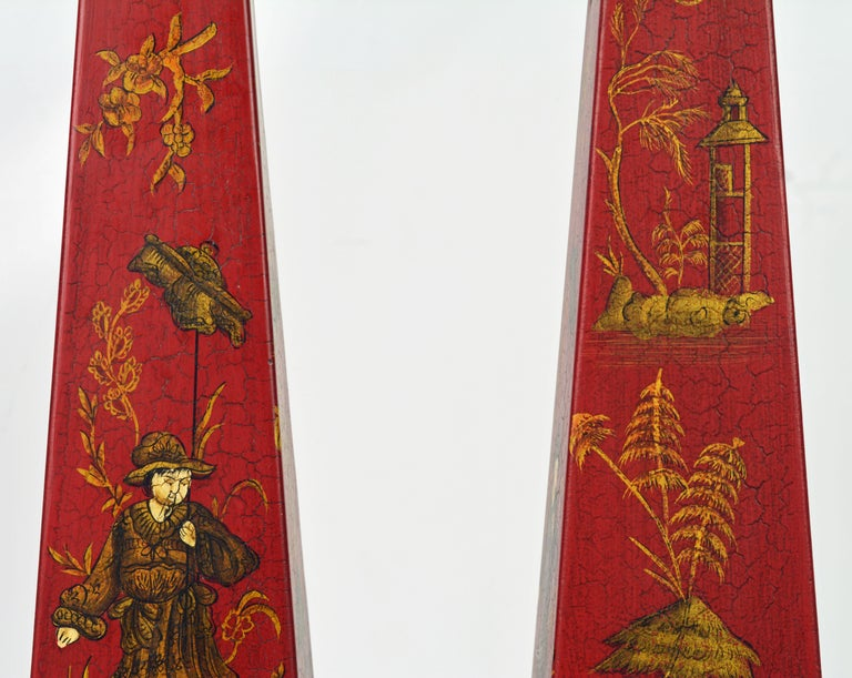 20th Century Pair of Tall Vintage Italian Chinoiserie Painted Tole Obelisk Models For Sale