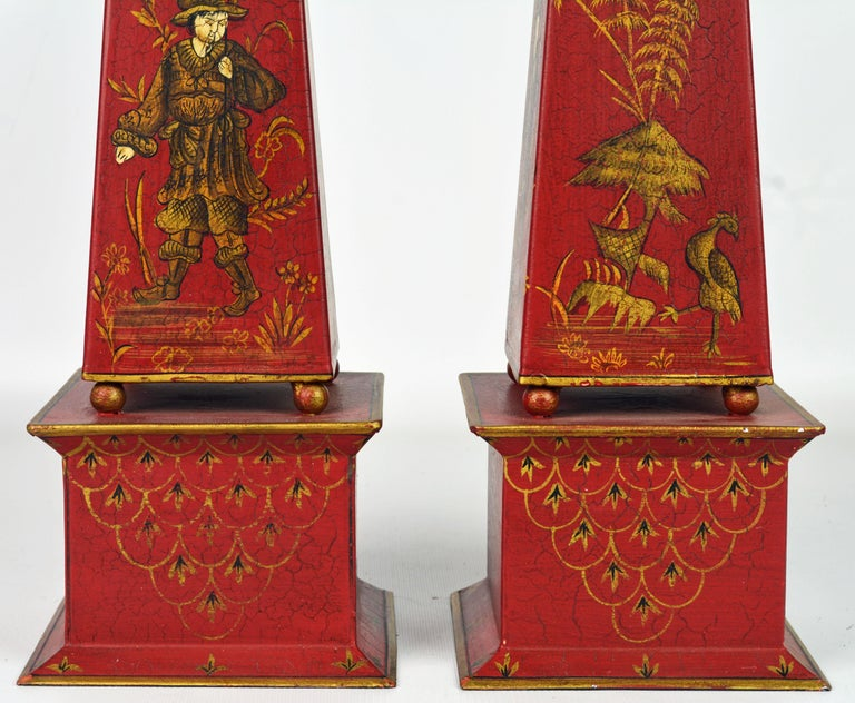 Tôle Pair of Tall Vintage Italian Chinoiserie Painted Tole Obelisk Models For Sale