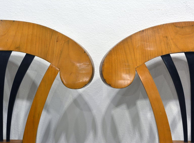 Wood Pair of Austrian Fruitwood Side Chairs with Ebonized Fan-Shape Splats For Sale