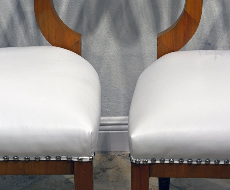 Pair of Austrian Fruitwood Side Chairs with Ebonized Fan-Shape Splats For Sale 8