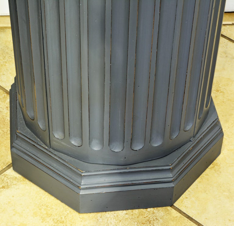 19th Century English Neoclassical Gray Painted Column Pedestal and Cabinet For Sale 2