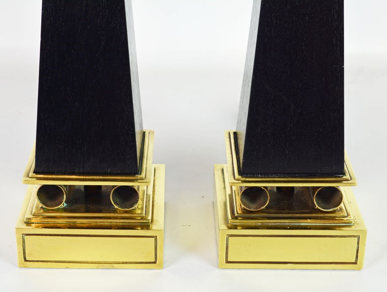 Pair of Brass and Ebonized Wood Obelisk Lamps by Tommi Parzinger for Stiffel For Sale 1