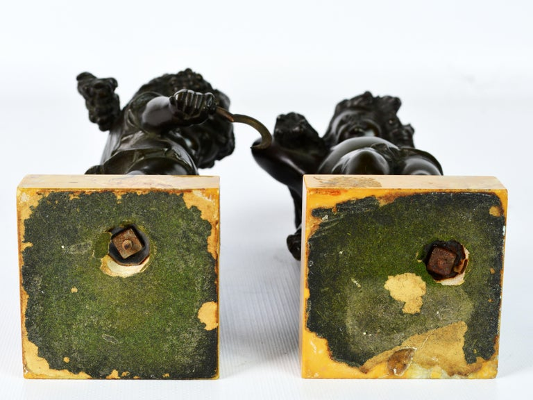 Pair of 19th Century Patinated Bronze Putti as Harvesters on Sienna Marble Bases For Sale 11