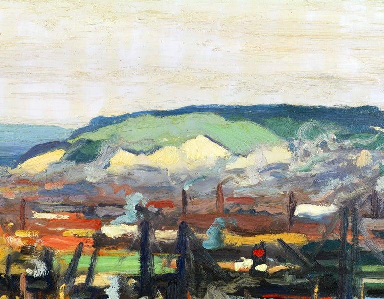 Canvas 'Vue Plongeante sur le Port de Rouen' by Gaston Balande, Spain France, 1880-1971 For Sale