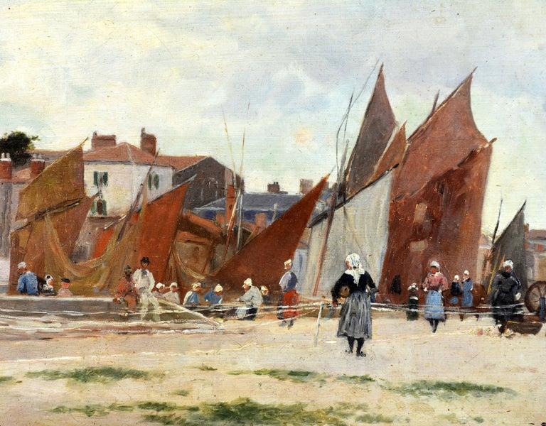 'Harbor Scene, Brittany' by Luigi Loir, Austrian/French Impressionist, 1845-1916 For Sale 2