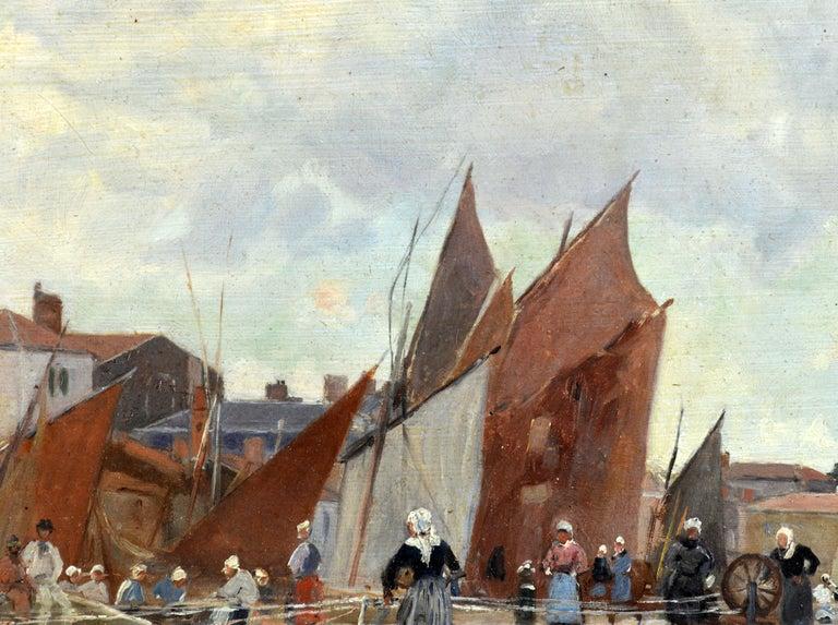 'Harbor Scene, Brittany' by Luigi Loir, Austrian/French Impressionist, 1845-1916 For Sale 3