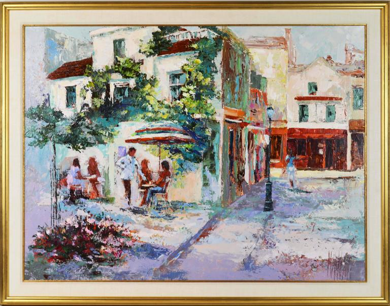 'The French Village Cafe' by Mark King, American (born in India, 1931-2014) Measures: 34 x 48 in without frame, 42 x 54 in including frame, oil on canvas, signed. Housed in a giltwood gallery frame.  Mark King:  Mark King, a champion of
