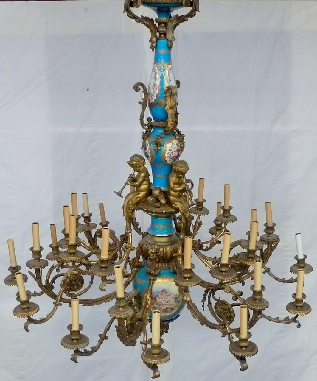 Late 19th Century Exceptional French Sevres Chandelier with 30 ...