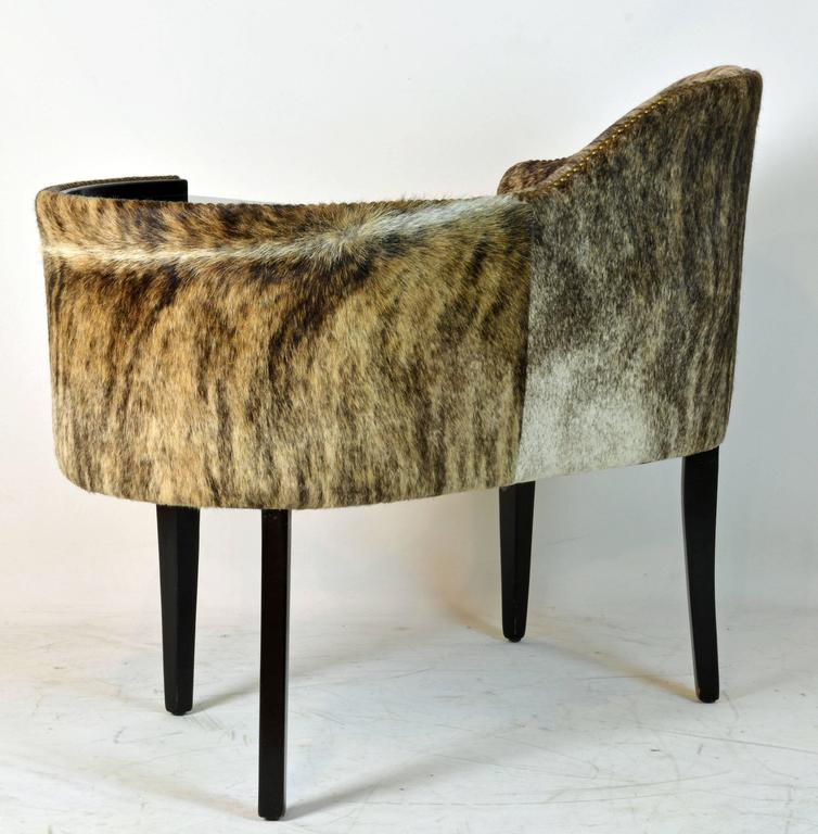 French Unique Mid Century Authentic Hide Covered Art Deco Style Telephone Bench