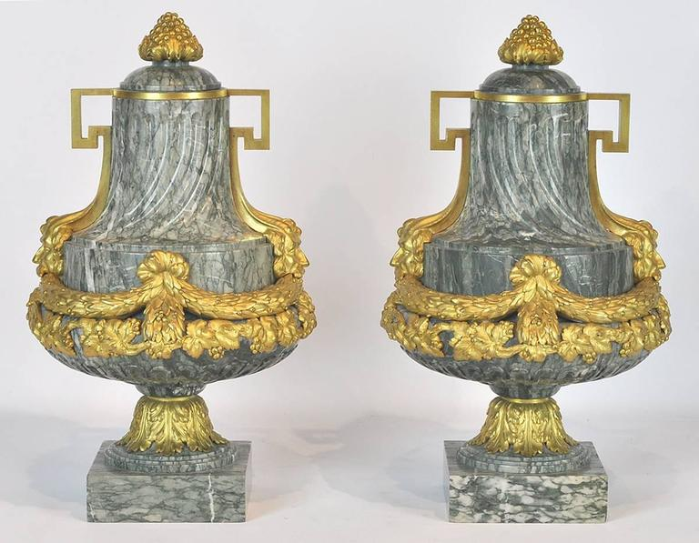 Pair of 19th Ct. Louis XV Carved Marble and Bronze Castlettes or Urns 3