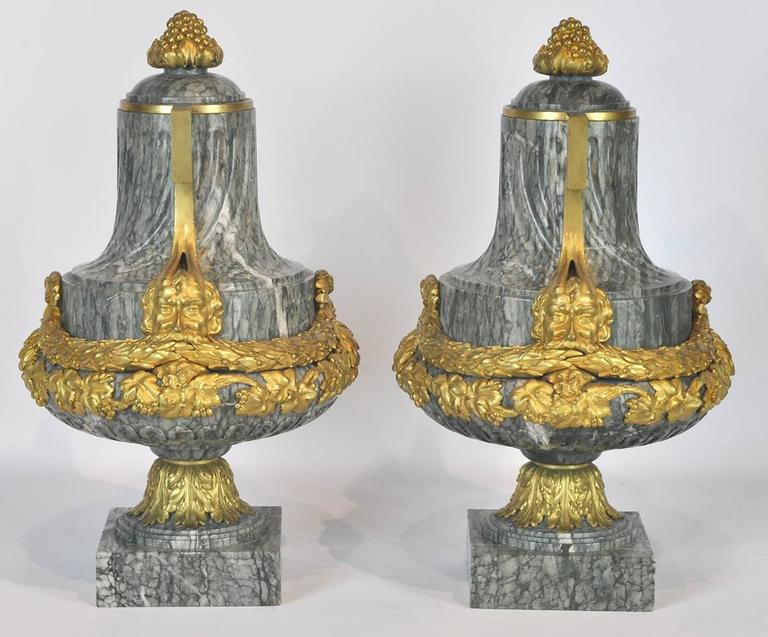 Pair of 19th Ct. Louis XV Carved Marble and Bronze Castlettes or Urns 4