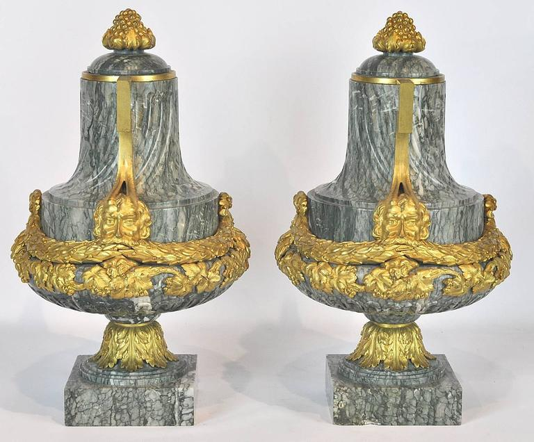 Pair of 19th Ct. Louis XV Carved Marble and Bronze Castlettes or Urns 9