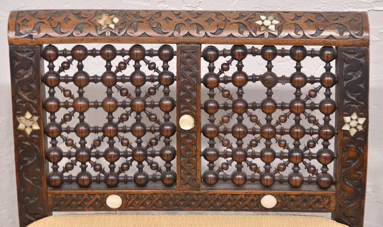 19th Century Moroccan Bench with Mother of Pearl and Bone Inlay 9
