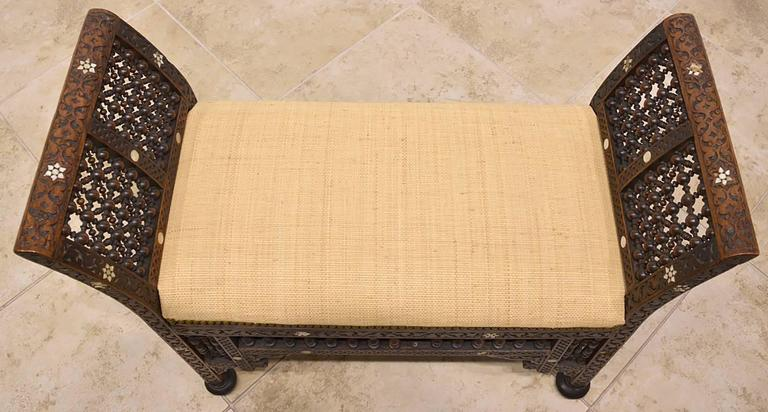 19th Century Moroccan Bench with Mother of Pearl and Bone Inlay 10