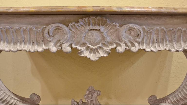 19th Century Italian Carved and Painted Faux Marble Top Console Rococo Style 3