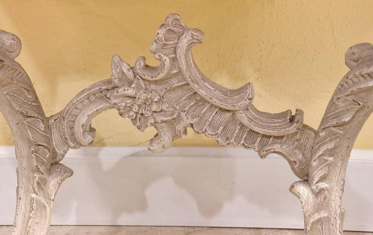 19th Century Italian Carved and Painted Faux Marble Top Console Rococo Style 5